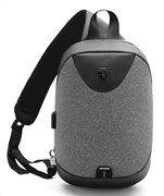 ARCTIC HUNTER τσάντα Crossbody XB0049-DG αδιάβροχη USB σκούρο γκρι
