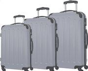 """Σετ βαλίτσες ταξιδίου 3 τεμαχίων, ABS με Τηλεσκοπικό Χερούλι, 23"""" 26"""" 30"""" σε Ασημί χρώμα, QTC-1026"""