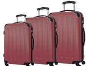 """Σετ βαλίτσες ταξιδίου 3 τεμαχίων, ABS με Τηλεσκοπικό Χερούλι, 23"""" 26"""" 30"""" σε Μπορντώ χρώμα, QTC-1026"""