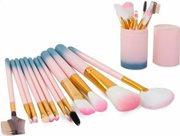 Aria Trade Επαγγελματικά Σετ πινέλα μακιγιάζ 12 τεμαχίων με θήκη μεταφοράς σε ροζ χρώμα, Make-up brushes