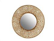 Στρογγυλός καθρέφτης με χρυσή πλέξη περιμετρικά, διαμέτρου 42 cm
