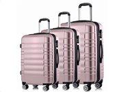 Hoffmanns Σετ 3 Βαλίτσες Ταξιδιού ABS, Τηλεσκοπικό Χερούλι, Ροδάκια Κλείδωμα Ασφ. σε Ροζ Χρώμα