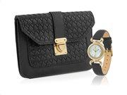 Temptation TEA-2017-01 Σετ Γυναικείο Ρολόι και τσάντα σε μαύρο χρώμα, Handbag & Watch
