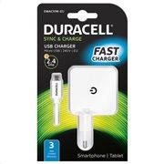 Duracell Φορτιστής Ταξιδιού με Έξοδο USB 2.4Α & Καλώδιο Micro USB 1m Λευκό
