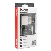 Φορτιστής Ταξιδίου inos Lightning με Extra Έξοδο USB Λευκό 2.1A