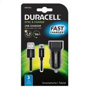 Φορτιστής Αυτοκινήτου Duracell με Έξοδο USB 2.4Α & Καλώδιο Micro USB 1m Μαύρο