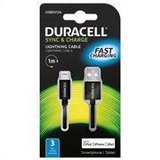 Duracell Καλώδιο Σύνδεσης USB 2.0 USB A to MFI Lightning 1m Μαύρο