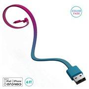 BuQu Καλώδιο Σύνδεσης USB 2.0 CORDZ Duo USB A σε Micro USB & Lightning 1.2m Ροζ - Γαλάζιο