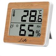 LIFE Ψηφιακό θερμόμετρο / υγρόμετρο εσωτερικού χώρου, με bamboo πρόσοψη, WES-107