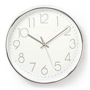 NEDIS Ρολόι τοίχου με μεγάλους αριθμούς σε λευκό και ασημί χρώμα, CLWA015PC30SR