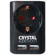 CRYSTAL AUDIO SU-1 BLACK ΜΟΝΟΠΡΙΖΟ + 2xΘΥΡΕΣ USB 2.4A