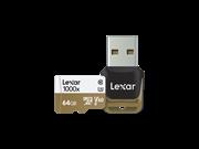 Lexar 64GB Professional 1000x microSDXC™ UHS-II cards (150MB/s) + reader