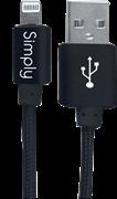Simply Καλώδιο Data USB to MFI Lightning USB 1,5m Πλεκτό Μαύρο