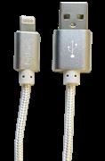 Simply Καλώδιο Data USB to MFI Lightning USB 1,5m Πλεκτό Ασημί