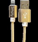 Simply Καλώδιο Data USB to MFI Lightning USB 1,5m Πλεκτό Χρυσαφί