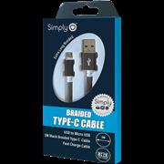 Simply Καλώδιο Data USB to USB Type-C 3m Πλεκτό Μαύρο
