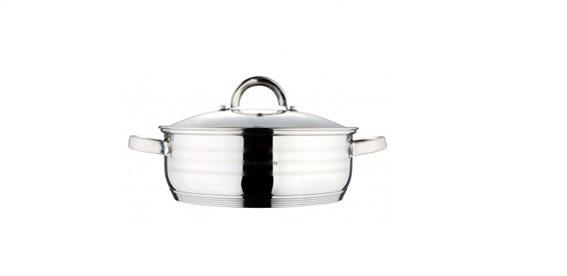 Blaumann Ρηχή Κατσαρόλα 28cm από Ανοξείδωτο ατσάλι με Γυάλινο καπάκι, Gourmet Line, BL-1504