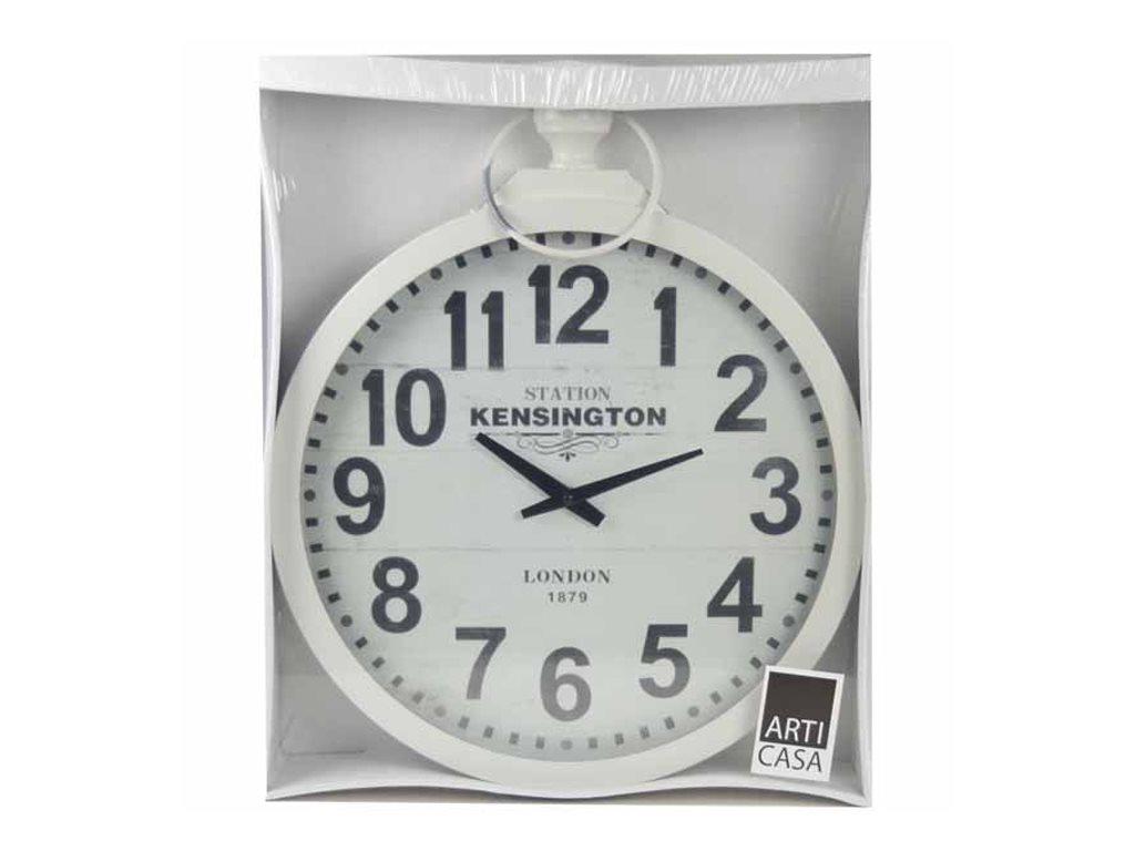Arti Casa 97933 Αναλογικό Μεταλλικό ρολόι τοίχου σε σχήμα ρολογιού τσέπης-Χρώμα Λευκό