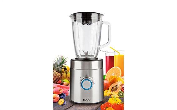 SOGO Επαγγελματικό Μπλέντερ Πολυμηχάνημα Κουζίνας (Blender) 600W με Γυάλινο δοχείο 1.5L, BAT-SS-5030