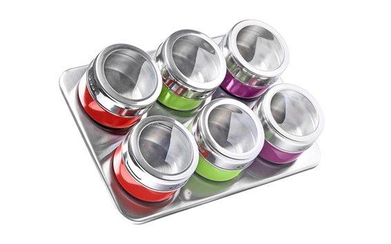 Luigi Ferrero Ανοξείδωτο σετ 6 τεμαχίων με πολύχρωμα μαγνητικά βαζάκια, FR-1306CD
