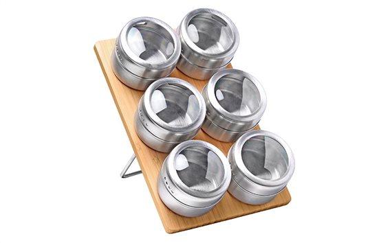 Luigi Ferrero Σετ με 6 μαγνητικά βαζάκια μπαχαρικών με καπάκια, FR-1306BSS