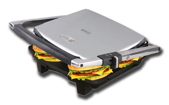 SOGO Τοστιέρα γκριλιέρα (grill) Σαντουιτσιέρα 2000W με Λαβή και Επίπεδες πλάκες, SAN-SS-7133