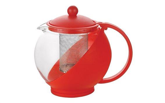 Luigi Ferrero Γυάλινη Τσαγιέρα με ανοξείδωτο φίλτρο 1.25Lt σε Κόκκινο Χρώμα