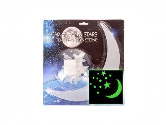 Eddy Toys Διακοσμητικά Τοίχου Φωσφοριζέ Αστέρια και Φεγγάρι Σετ 13τμχ