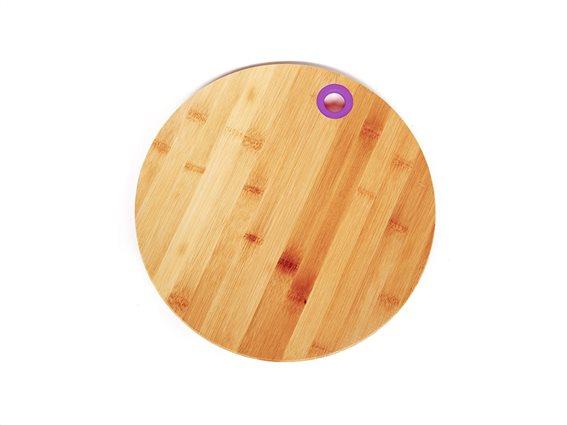 Muhler Ξύλινος Δίσκος Κοπής Στρογγυλός Μπαμπού (Bamboo) 25cm με λεπτομέρεια σε Μωβ χρώμα, MR-1636BS