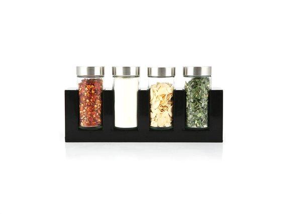 Luigi Ferrero Σετ γυάλινα βαζάκια μπαχαρικών 4 τεμ. με καπάκια σε μαύρη επιτραπέζια βάση, FR-1444 SP