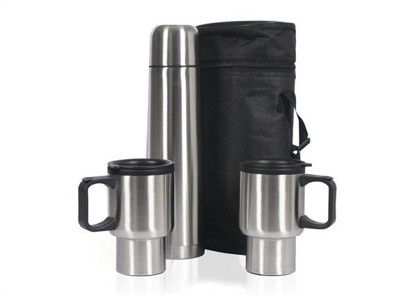 Sogo Σετ Ταξιδιού με Ανοξείδωτο Inox Θερμός 1Lt και 2 Κούπες 400ml σε τσάντα μεταφοράς, TERMO-HR01