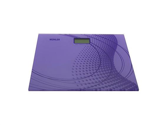 Muhler Γυάλινη Ψηφιακή Ζυγαριά Μπάνιου 180Kg σε Μωβ χρώμα, MSC-3035