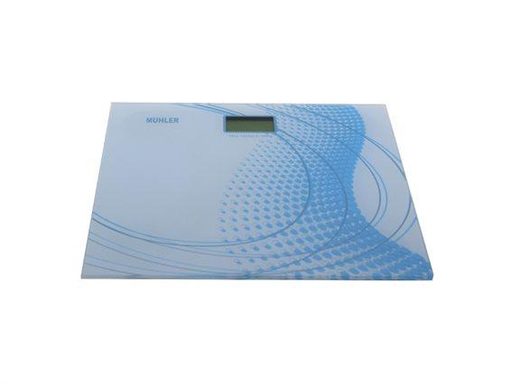 Muhler Γυάλινη Ψηφιακή Ζυγαριά Μπάνιου 180Kg σε Γαλάζιο χρώμα, MSC-3035