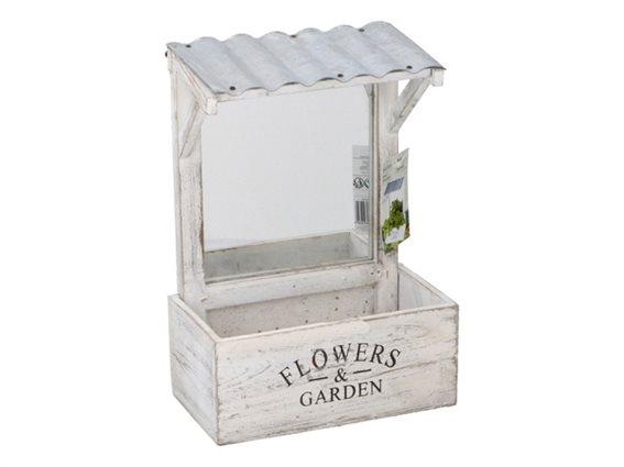 Ξύλινο Vintage Σταντ Κήπου Γλάστρα για Φύτεμα 21x12x29cm