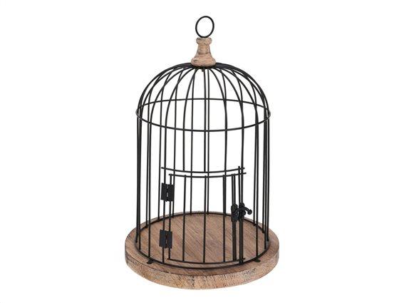 Διακοσμητικό Μεταλλικό Κλουβί Πουλιών 40x30x30cm με Βάση από Ξύλο, Home Styling AAE315200