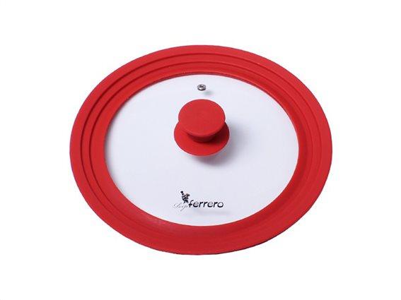 Luigi Ferrero Γυάλινο Καπάκι για Σκεύη διαμέτρου 24/26/28cmσε Κόκκινο χρώμα, Atlanta, FR-2428SA
