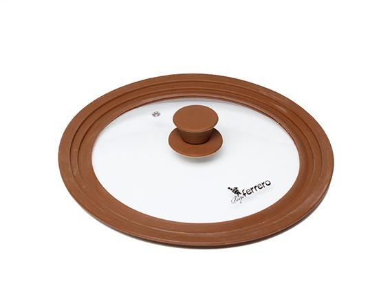 Luigi Ferrero Γυάλινο Καπάκι για Σκεύη διαμέτρου 22/24/26cmσε Καφέ χρώμα, Verona, FR-2226SV