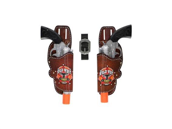 Eddy Toys Σετ 2 Πλαστικά Πιστόλια Cowboy 28cm με Θήκες και Ζώνη 85289