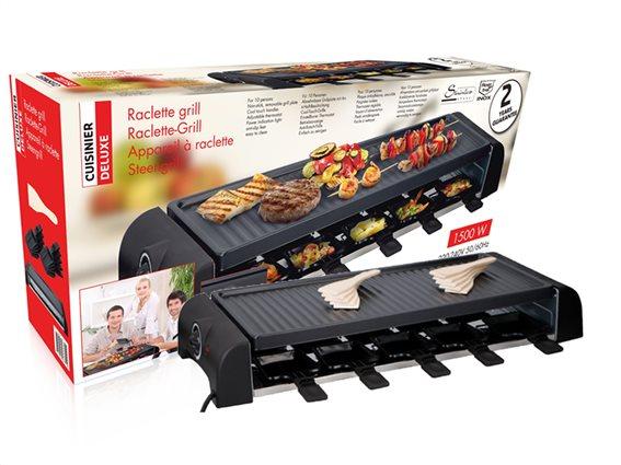 Cuisinier Deluxe Επιτραπέζια Ηλεκτρική Αντικολλητική Πλάκα BBQ Γκριλ  10x23.8x63.9cm 1500W
