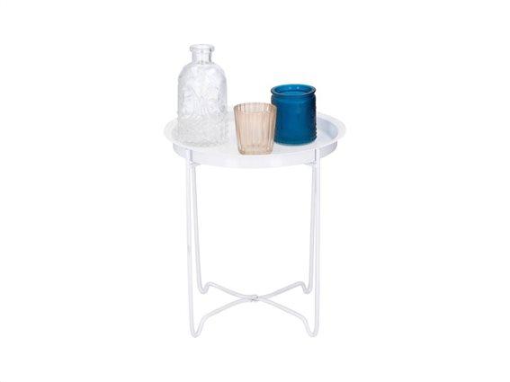 Arti Casa Σετ Μεταλλικό Τραπεζάκι Βεράντας και Κήπου σε Λευκό χρώμα, 24x24x27cm, 05582