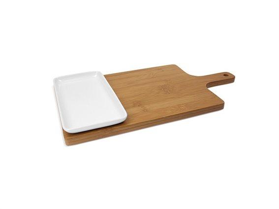 Ξύλο Κοπής Τροφίμων από Bamboo, ξύλινη λαβή, Luigi Ferrero,FR-1REB
