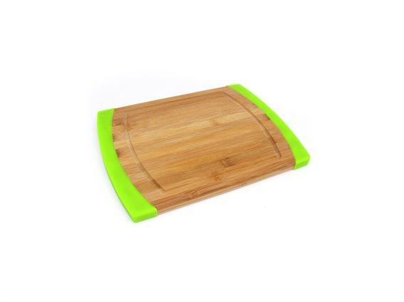 Ξύλινος Δίσκος Κοπής από Μπαμπού Bamboo 35x23x1.5cm με Πράσινες λεπτομέρειες, Muhler MR-1639BS