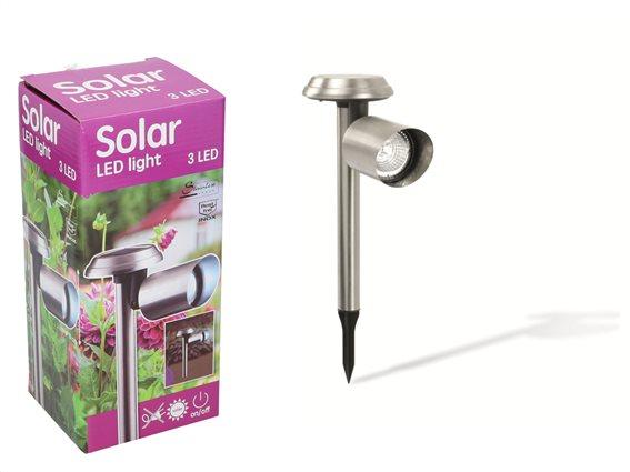 Ηλιακό Φαναράκι κήπου με 3 LED Solar Powered από ανοξείδωτο ατσάλι, 33x10cm, 90289