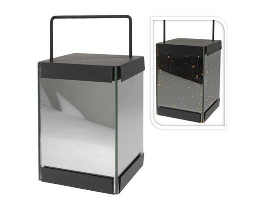 Μεταλλικό Διακοσμητικό  Ηλεκτρικό Φαναράκι με Led φωτισμό, ύψους 28cm, ASH302680