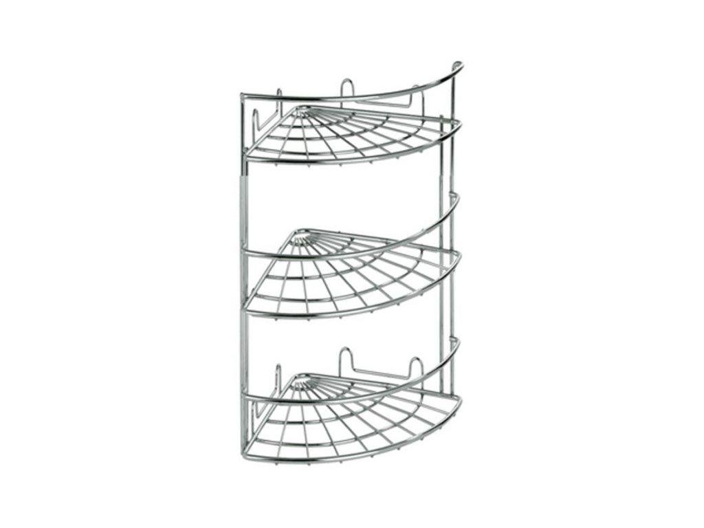Μεταλλικό Γωνιακό Ράφι Inox με 3 ράφια, 18x18x45cm, Artex Slim Line 27.10.39