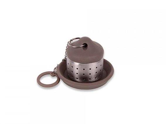 Φίλτρο Σουρωτήρι για Τσάι από Ανοξείδωτο Ατσάλι με Πιατάκι σε Καφέ-Μπεζ χρώμα, Luigi Ferrero FR-1740