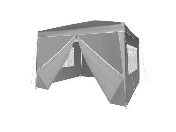 Gazebo Πτυσσόμενο Κιόσκι Τέντα που κλείνει από 4 πλευρές 3x3cm και Τσάντα Μεταφοράς σε Γκρι Χρώμα