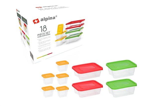 Σετ Διάφανα Μπολ αποθήκευσης 18 τεμαχίων, 9 δοχεία φαγητού με Πλαστικά Καπάκια, Alpina 12992