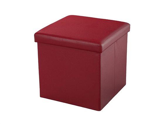 Σκαμπό Πτυσσόμενο με Αποθηκευτικό Χώρο σε χρώμα Burgundy, 38x38x38cm, Muhler Eco Red