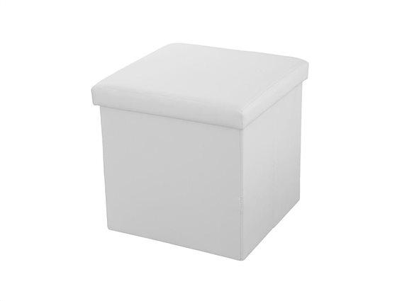 Σκαμπό Πτυσσόμενο με Αποθηκευτικό Χώρο σε Λευκό χρώμα, 38x38x38cm, Muhler Eco White